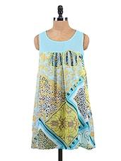 Blue Printed High-Low Chiffon Dress - Collezioni Moda