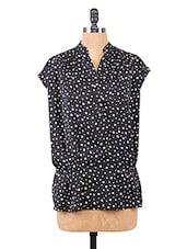 Black Polka Dots Printed Polyester Top - Collezioni Moda