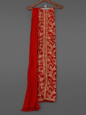 Floral Vine Zari Embroidered Red Georgette Suit Set - By