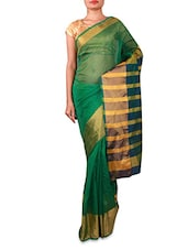 Green Silk Saree With Striped Aanchal - INDI WARDROBE