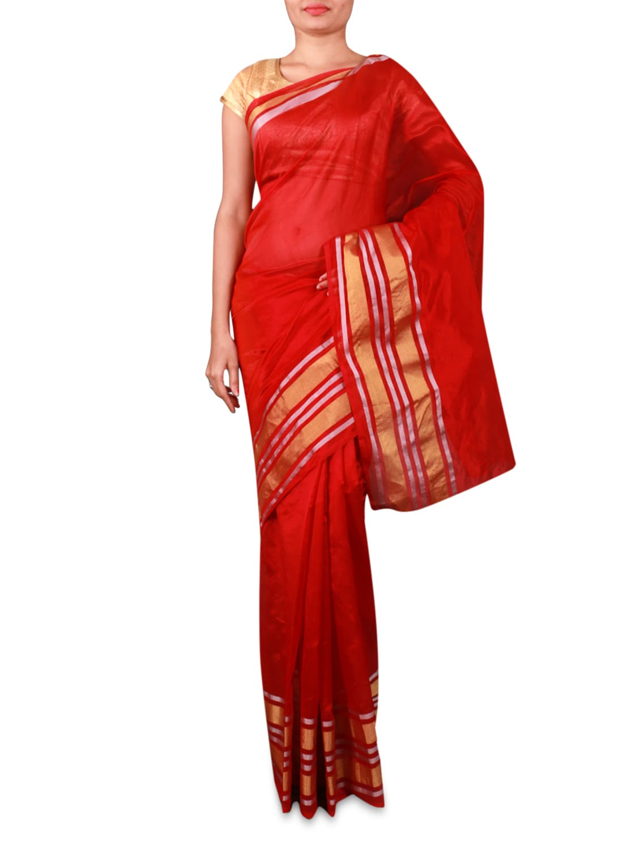 Red Cotton Silk Saree With Striped Border - INDI WARDROBE
