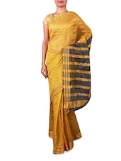 Yellow Chequered Cotton Silk Saree - By