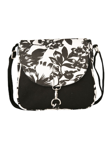 black floral printed canvas sling bag - 11734763 - Standard Image - 1