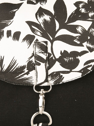 black floral printed canvas sling bag - 11734763 - Standard Image - 4