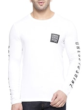 white cotton printed sleeve t-shirt -  online shopping for T-Shirts