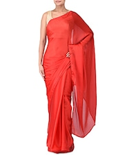 Solid Red Silk Satin Saree - By