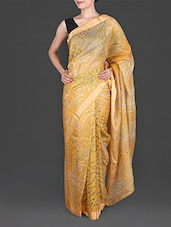 Yellow Bandhej Printed Pure Silk Saree - By