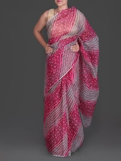 Pink And Grey Bandhej Printed Cotton Kota Saree - Maandna