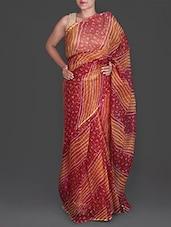 Red And Orange Bandhej Printed Cotton Kota Saree - Maandna