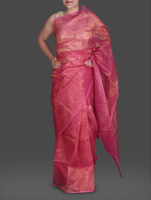 Pink Jacquard Shimmer Poly Silk Kota Saree - Maandna