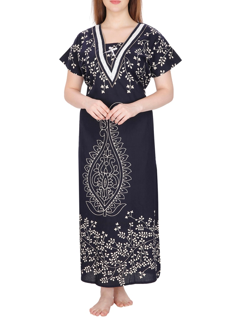 Buy Navy Blue Printed Cotton Nighty By Secret Wish Online Shopping
