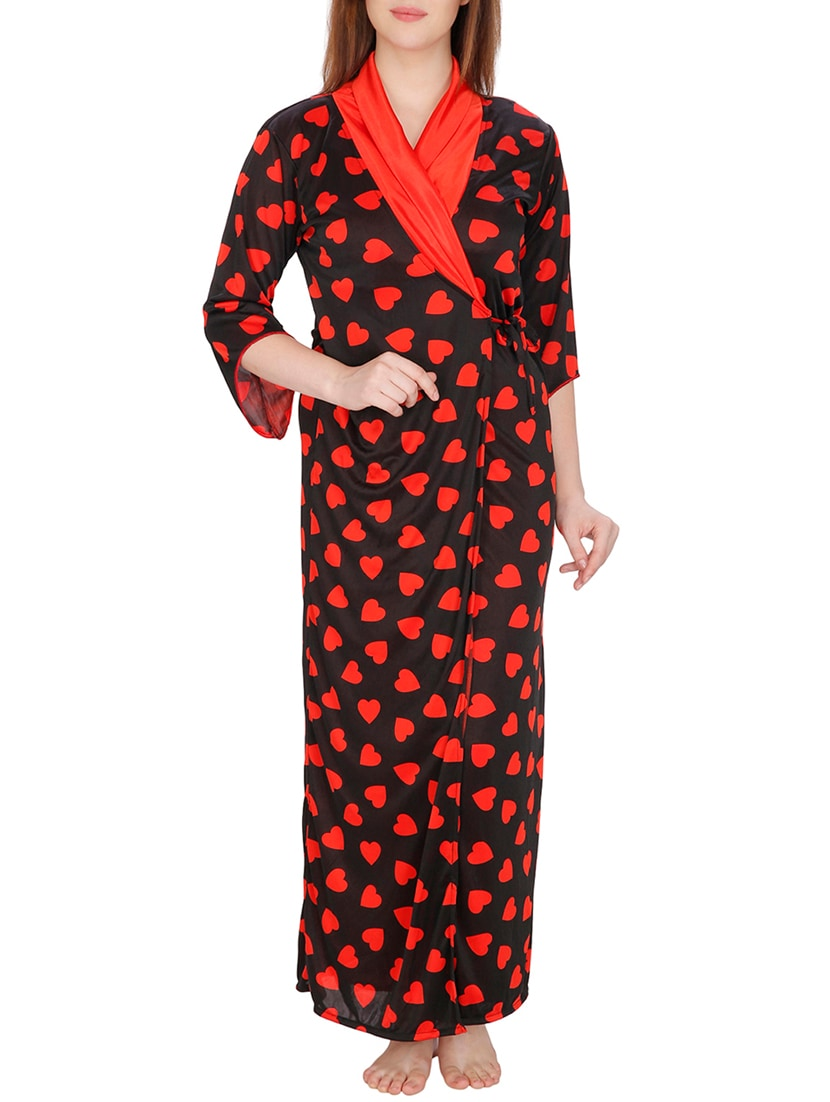 Buy Red Printed Satin Robe And Nighty Set by Secret Wish - Online shopping  for Sleepshirts   Nighties in India  c7738eb19