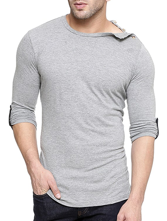 504baa8a4cb1 Buy Solid Grey Cotton T-shirt for Men from Gespo for ₹474 at 44% off