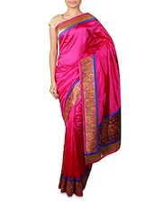 Solid Pink Saree With Floral Border - INDI WARDROBE