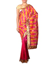 Pink Cotton Silk Saree With Multicoloured Aanchal - By