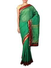 Green Art Silk Saree With Paisley Border - INDI WARDROBE