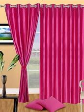Set Of 3 Solid Magenta Polyester Door Curtain - Marigold Design
