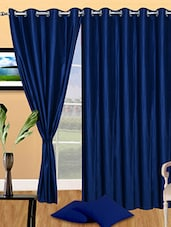 Set Of 3 Solid Blue Polyester Door Curtain - By
