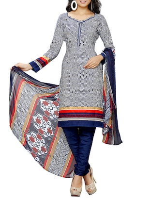 Grey printed crepe unstitched churidaar suit -  online shopping for Unstitched Suits