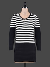 Horizontal Striped Long Sleeves Top - By - 1176472