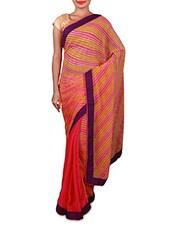 Pink Striped Georgette Saree - Inddus