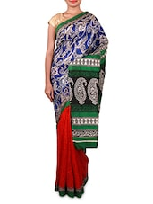 Blue And Red Printed Cotton Silk Saree - By