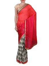Pink And Cream Printed Georgette Saree - Inddus