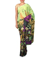 Green Floral Printed Georgette Saree - By