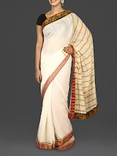 White Embroidered Kerala Cotton Saree - By