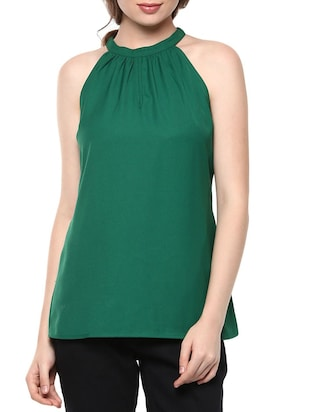 072c69da Buy Dark Green Sleeveless Georgette Top for Women from The Vanca for ₹400  at 60% off | 2019 Limeroad.com