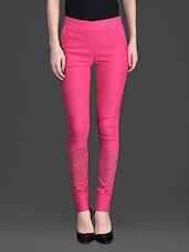 Solid Color Lacy Bottom High Waist Pink Legging - 10th Planet