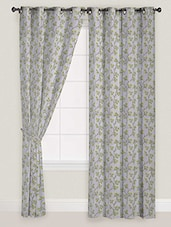 Green Colour Floral Printed Curtain -  online shopping for Curtains