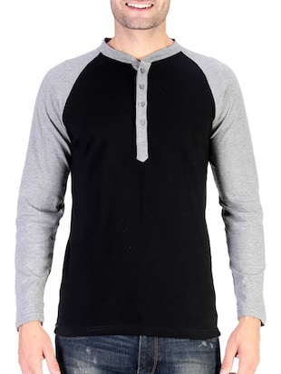 black cotton raglan t-shirt - 11788132 - Standard Image - 1