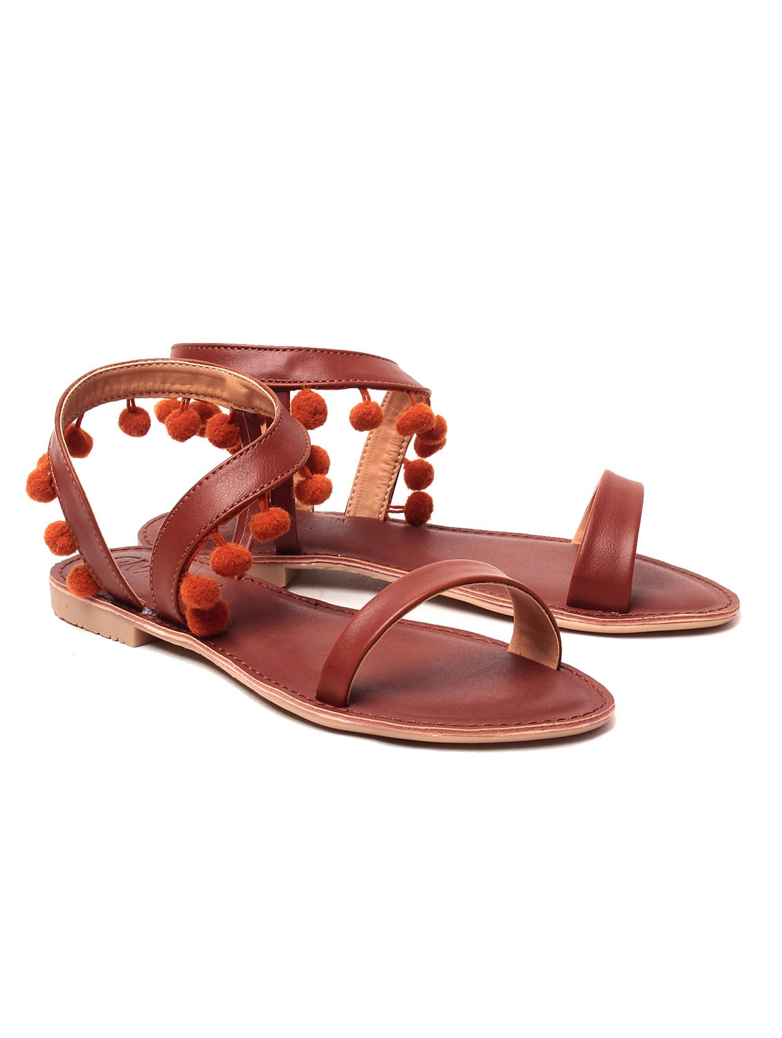 d53c2eaca072 Buy Brown Pom Pom Sandal for Women from Gnist for ₹528 at 47% off ...