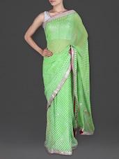 Gota Patti Embellished Light Green Leheria Saree - Roop Saree