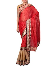 Red Embroidered Foil Printed Georgette Saree - By