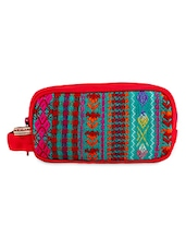 Embroidered Geometric Pattern Toiletry Bag - The Kala Shop