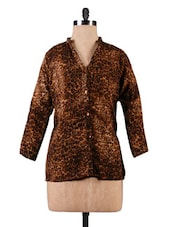 Brown Animal Print Georgette Top - By