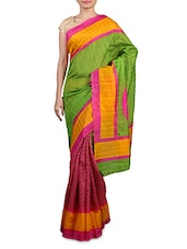 Pink And Green Printed Cotton Silk Saree - By
