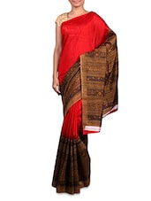 Red Printed Cotton Silk Saree - By