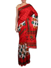 Red And White Printed Art Silk Saree - By
