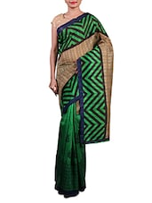 Green Printed Cotton Silk Saree - By