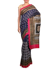 Navy Blue Printed Art Silk Saree - By