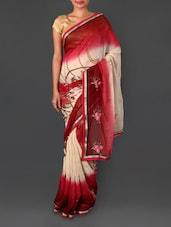Zari Border Embroidered Printed Art Silk Saree - Shrimatiji Sarees
