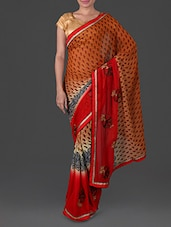 Spiral Print & Embroidered Art Silk Saree - By