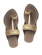 Gold Faux Leather Slip On - By