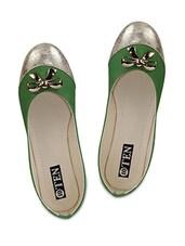 Green Artificial Leather Ballerinas - TEN