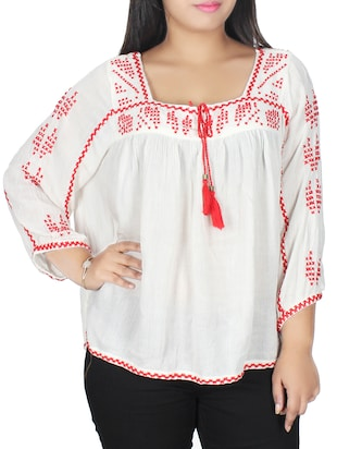 white Embroidered viscose regular top -  online shopping for Tops