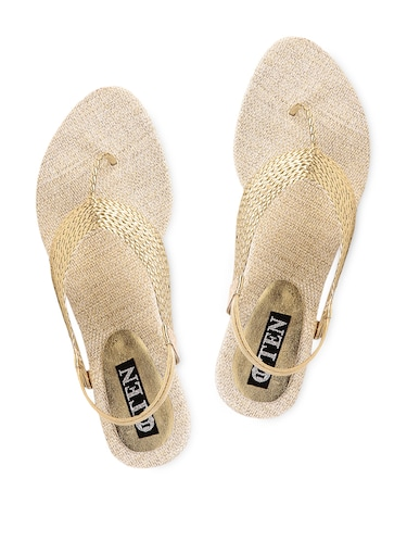 20111edf6b4 Buy Gold Jute Sandals for Women from Ten for ₹499 at 29% off