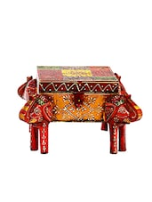 Multicolored Multiutility Wooden Box With Elephant Face - By